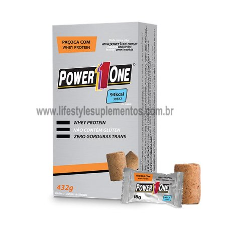 Paçoca com Whey Protein (432g) 24 Unidades - Power One
