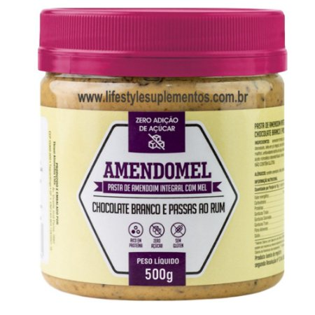 AmendoMel Chocolate Branco e Passas ao Rum 500g - Thiani Alimentos