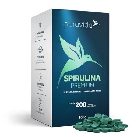 Spirulina Premium 200 Tabletes - Pura Vida