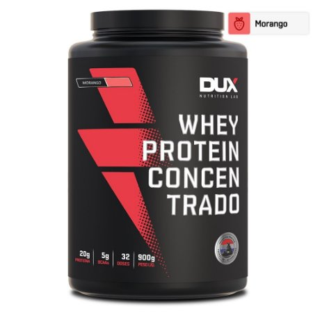 Whey Protein Concentrado Morango 900g - Dux Nutrition