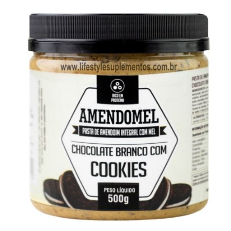 AmendoMel Chocolate Branco Com Cookies 500g - Thiani Alimentos