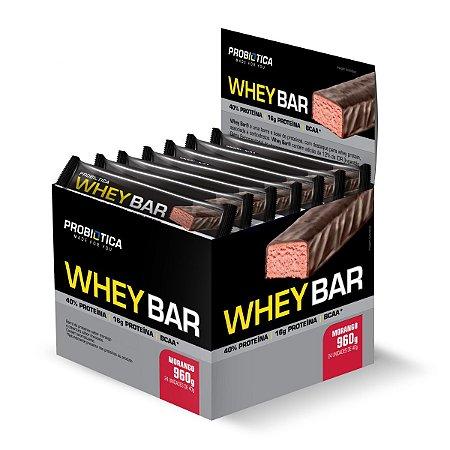 Whey Bar Morango 24 Unidades - Probiotica