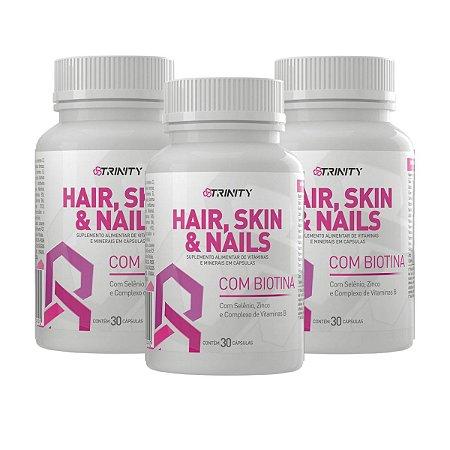 Kit 3 Potes Hair Skin & Nails 30 capsulas - Trinity