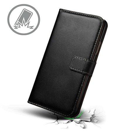 Capa carteira preta unisex para LG Q6