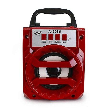 Caixa de som (rádio FM) A6036 c/ suporte a USB - Vermelho
