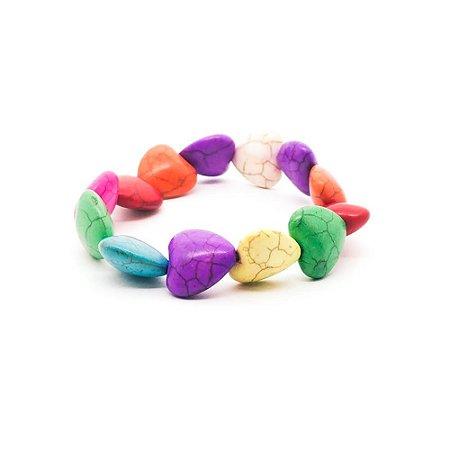 Pulseira feminina - Corações coloridos
