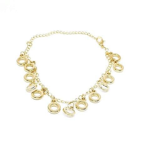 Pulseira feminina dourada - Argolas Cravejadas