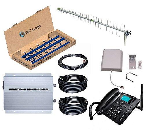 Kit Repetidor 850mhz 1km Antena Direcional C/ Telefone Rural