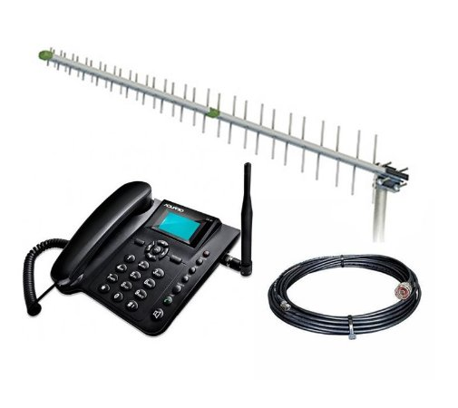 Kit Antena Quadriband 15dbi c/ Telefone Rural