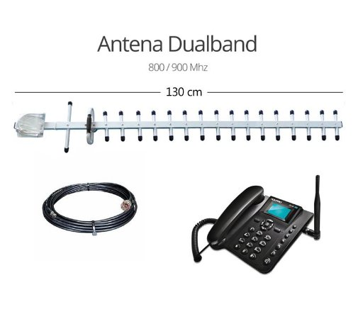 Kit Telefone Rural com antena externa de 18dbi