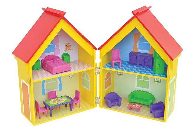 Casa Casinha De Bonecas Mobiliada Mdf Yellow House Junges