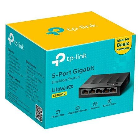 Switch Gigabit de Mesa TP-Link 5 Portas 10/100/1000Mbps - LS1005G