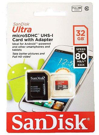 Cartão de Memória SanDisk 32GB Ultra ®microSDXC UHS-I Classe 10 + 1 Adaptador SD