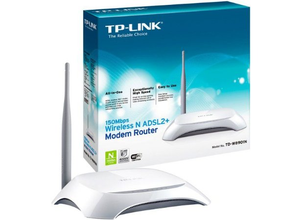 Modem Roteador TP-Link 150Mbps Wireless N ADSL2+ TD-W8901N