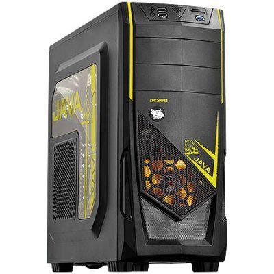 Gabinete Pcyes Java Mid Tower Led Amarelo USB3.0 Leitor de Cartão