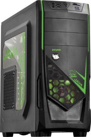 Gabinete Pcyes Java Mid Tower Led Verde USB3.0 Leitor de Cartão