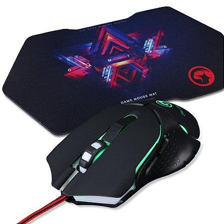Kit Mouse Gamer Marvo Scorpion M309 1000/2400 DPI + Mouse Pad G7