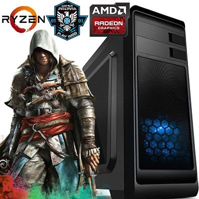 Computador Intervia Vega AMD Ryzen 2200G Quad Core 3.5Ghz + 8GB DDR4 + HD 1TB + Ati Radeon Vega 8