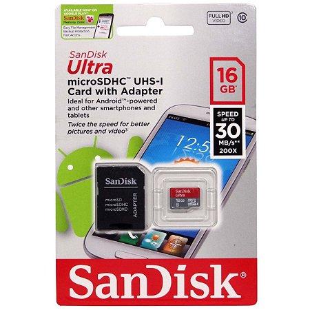 Cartão de Memória SanDisk 16GB Ultra ®microSDXC UHS-I Classe 10 + 1 Adaptador SD