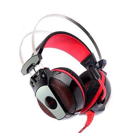 Headset Satellite 7.1 USB AE-353 com Microfone - Preto/Vermelho