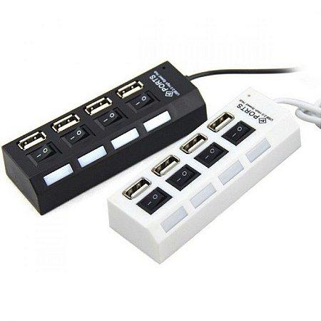 HUB USB 4 PORTAS 2.0 COM CHAVE DE LED