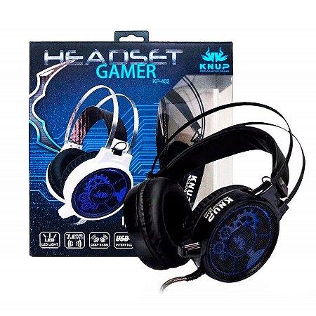 HEADSET GAMER PRO KP-402 Vibration 7.1 Sound Effect Knup Preto