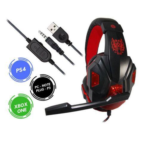 Headset para Ps3, Ps4, Xbox, Celular, Tablet com Microfone LED ( Cabo Reforçado )