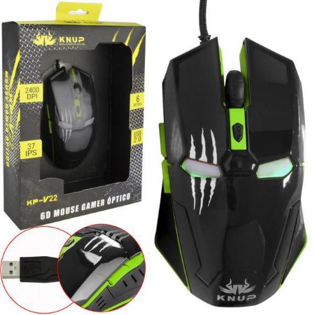 Mouse Gamer Iron Man 6D Knup KP-V22 Green