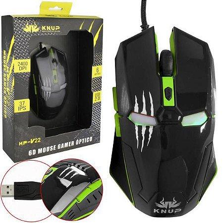 Mouse Gamer Iron Man 6D Knup KP-V22 Green