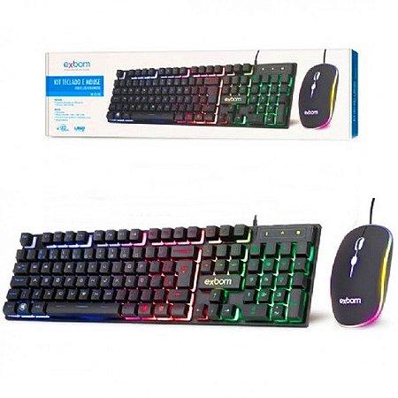 Combo Teclado Gamer Semi Mecânico + Mouse Gamer RGB BK-G550 Exbom