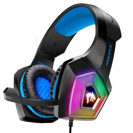 HEADSET GAMER Plug PC + PS4 + Celular - LED RGB COM FIO E MICROFONE ARTICULADO AZUL - GH-X2000
