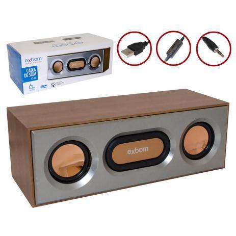 Caixa De Som USB 6W Preto CS-72 CS-72 EXBOM