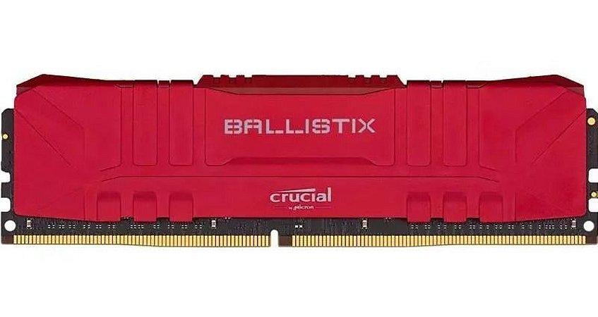 Memória Ballistix 8GB DDR4 2666Mhz Red