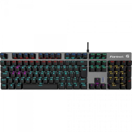 Teclado Gamer Mecânico RGB BLACK HAWK Dark Grey FORTREK
