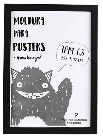 MOLDURA A3 BÁSICA - PRETA