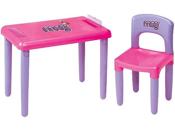 Mesa Com Cadeira Infantil Meg Rosa - Magic Toys