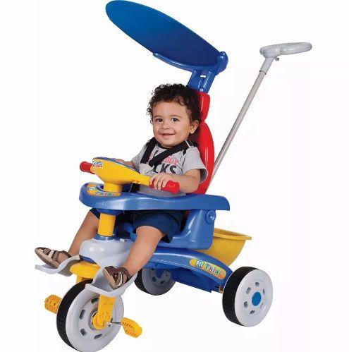 Triciclo Infantil Fit Trike Azul C/ Empurrador - Magic Toys
