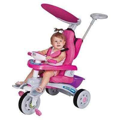 Triciclo Infantil Super Trike Rosa Estofado - Magic Toys