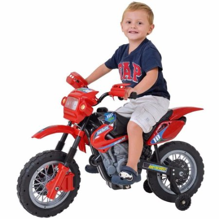 Moto Elétrica Infantil Motocross Vermelha - Homeplay