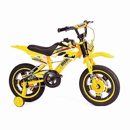 "BICICLETA BIKE MOTO CROSS ARO 16"" AMARELA - UNITOYS"