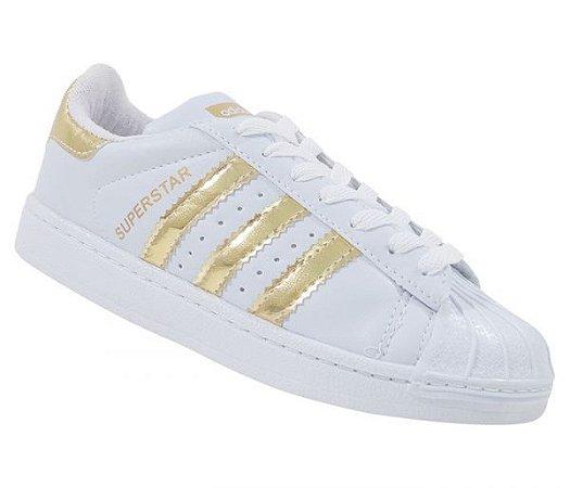 Tênis Adidas Superstar Foundation Branco e Dourado