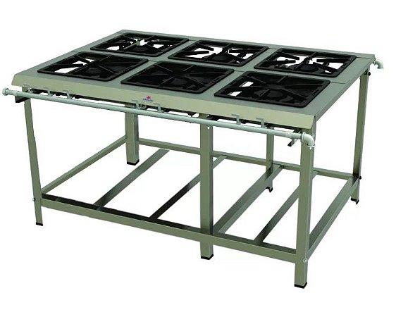 Fogão Industrial Inox 6 Queimadores Duplos PMDI 600 E Progás