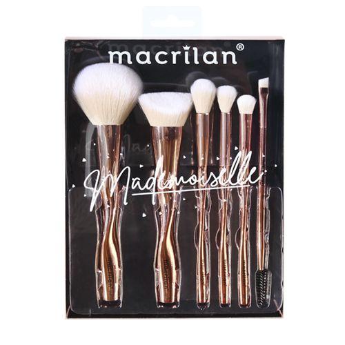Kit com 6 Pincéis Profissional Mademoiselle Macrilan ED004