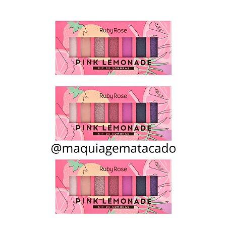 Kit 03 Unidades Paleta de Sombras Pink Lemonade Ruby Rose HB1056