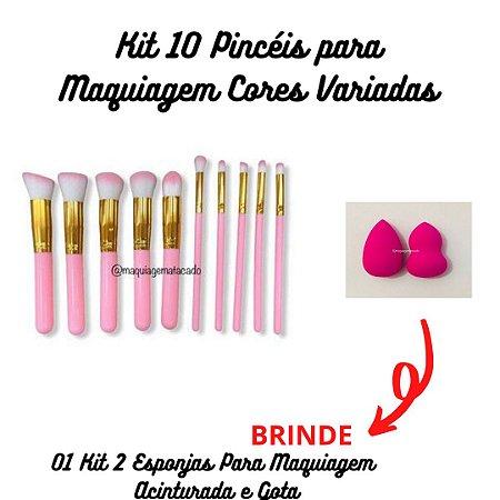 Kit 10 Pincéis para Maquiagem + BRINDE Kit 2 Esponjas Para Maquiagem Acinturada e Gota