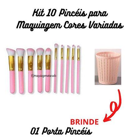 Kit 10 Pincéis para Maquiagem + BRINDE 01 Porta Pincéis