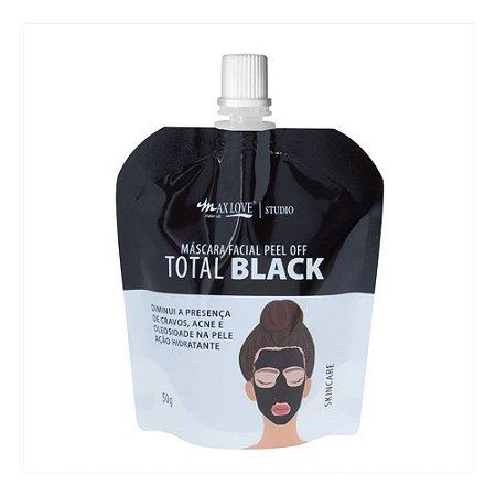 Máscara Facial Peel Off Total Black Sachê 50g Max Love