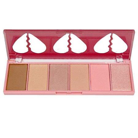 Paleta de Blush, Contorno e Iluminador Face Kit Heart Tuby Rose HB7520