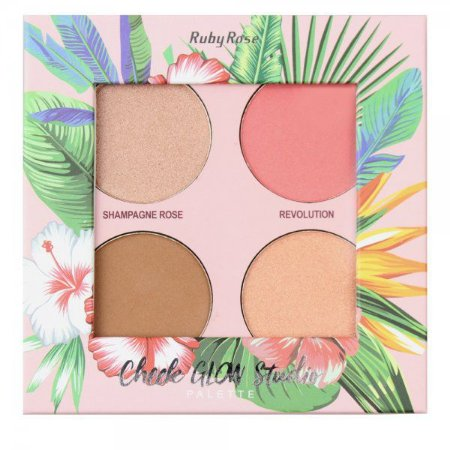 Paleta de Iluminador, Blush e Bronzer Cheek Glow Studio Ruby Rose HB7506