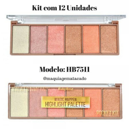 12 Unidades - Paleta de Iluminador Magic Happen HB7511
